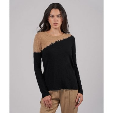 Slub Jersey Long Sleeve Distroyed Top