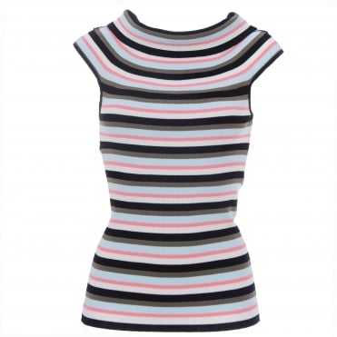 Stripe Cap Sleeve Top
