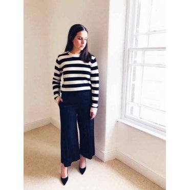 Stripe Diamte Button Knit