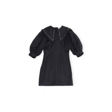 Stud Collar Short Linen Dress