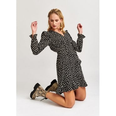 Vodolfo Spot Print Mini Wrap Dress
