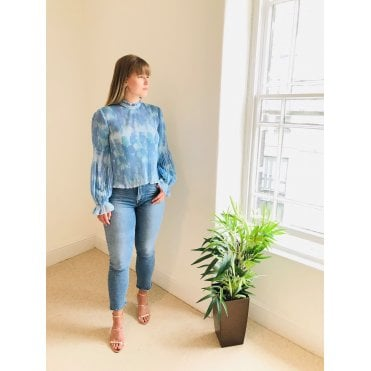 Water Colour High Neck Long Sleeved Top