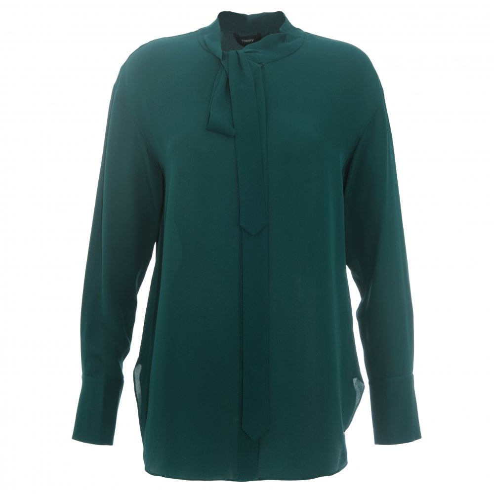 d92d82c4cd7f09 Theory Green Silk Weekender Blouse