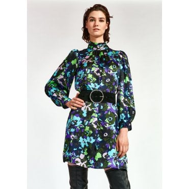 Wengling High Collar Floral Tie Dress