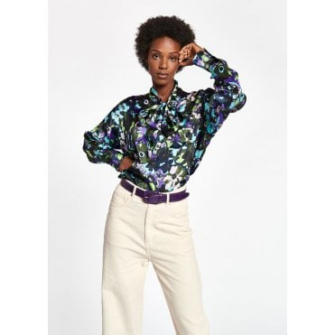 Wichael Pussy Bow Foral Blouse