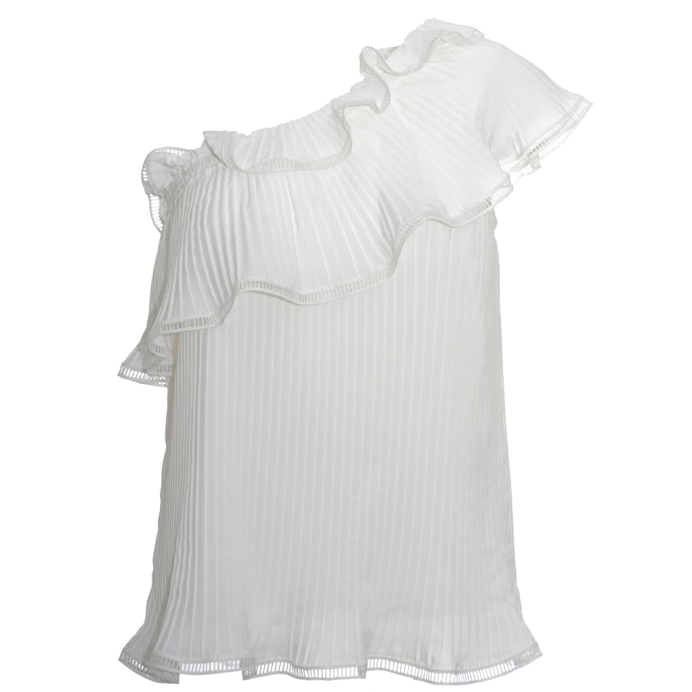6a1190a53a3 Designers Remix Wilma Cream Pleated Frill Top, Designer wear online