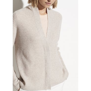 Wool Cashmere Ribbed Button Cardigan