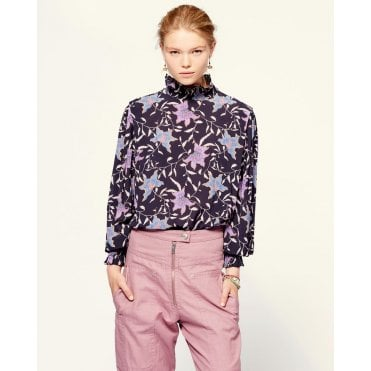 Yoshi High Printed Silk Top