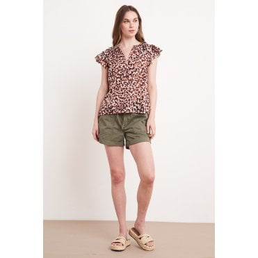 Yuelle Frill Short Sleeve Smudge Blouse